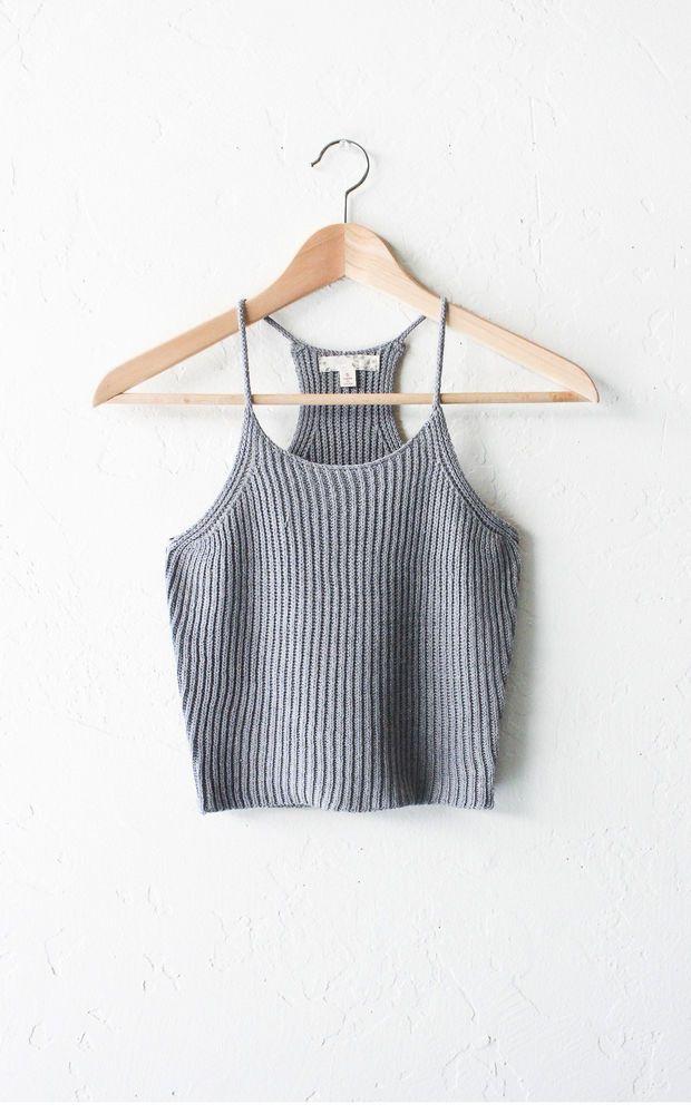 Knit Crop Top - Grey