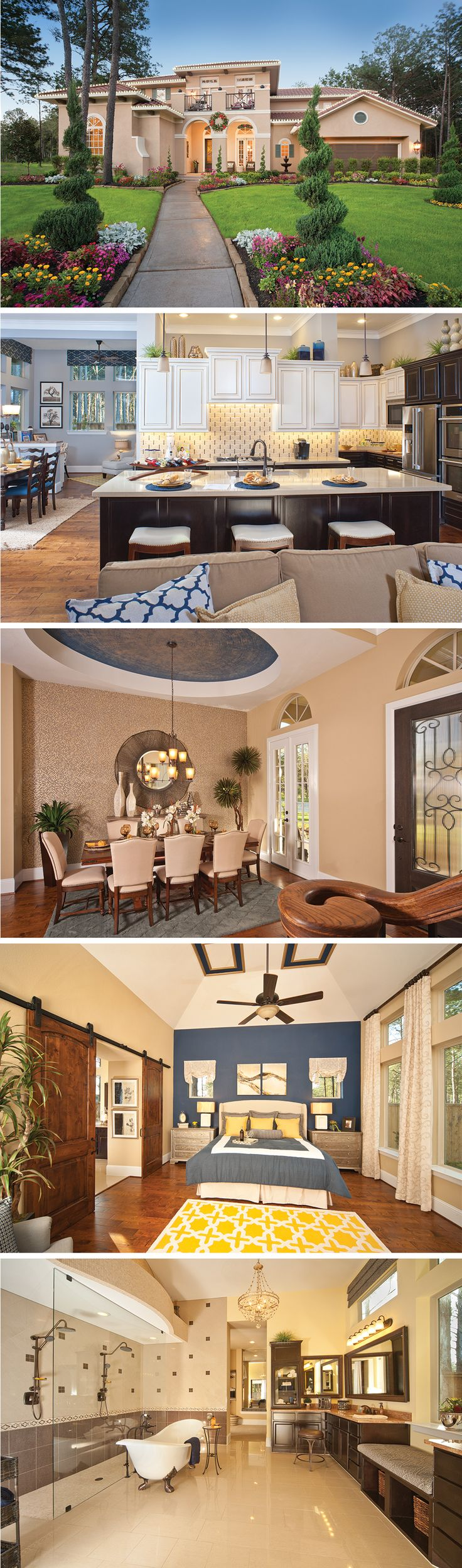 The Springdale  by David Weekley Homes in The Woodlands is a 5 bedroom, 5 bathroom floorplan that features high tray ceilings, an open kitchen and family room layout, and a covered porch.