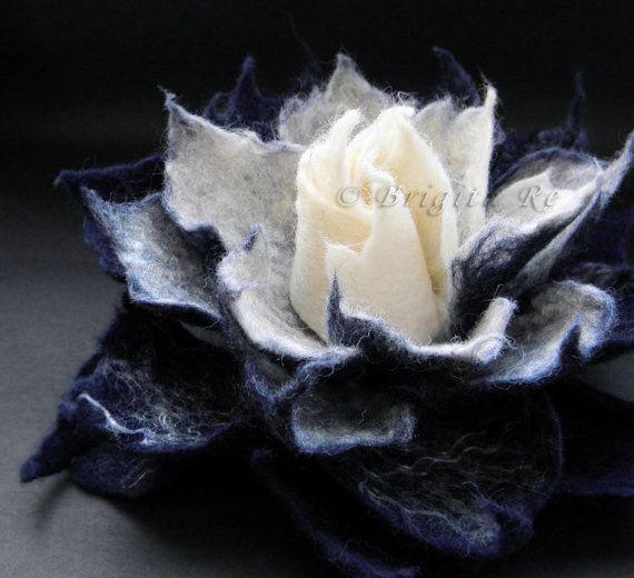 Bilberry Cream Felt Flower Brooch