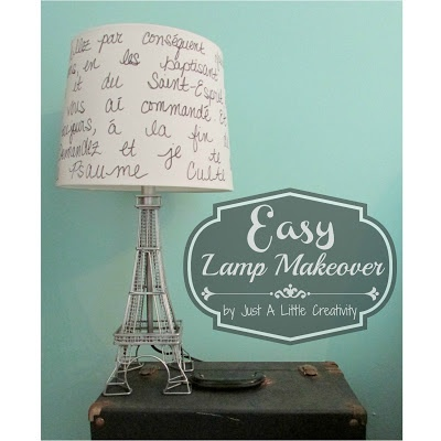 Just a little Creativity: $5 Makeover- Paris Eiffel Tower Lamp and Script Lampshade Re-Do