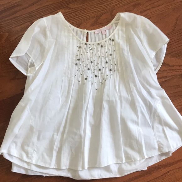 Rebecca Taylor White Beaded Short Sleeve Top With Images Taylor White Tops Clothes Design