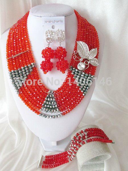 Хиты 2014 продажа бесплатная доставка романтический женщины ювелирные изделия довольно кристалл нигерии свадьба африканские бусины комплект ювелирных изделий Ab1181