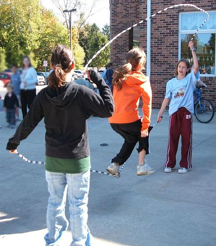 Double Dutch jump roping- I was one of the best. We sang down in the valley, where the green grass grows...