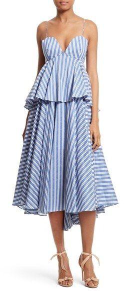 Women's Milly Melody Peplum Midi Dress