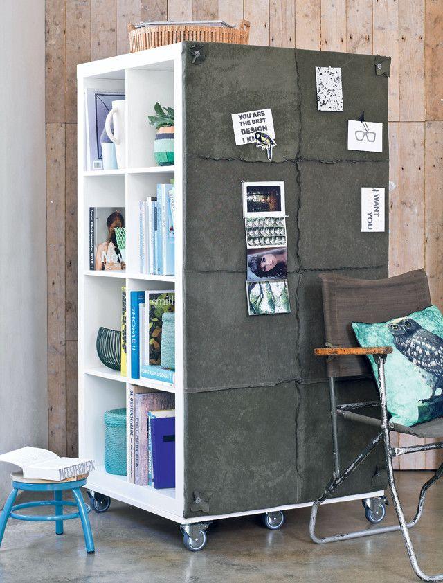 Verrijdbare ruimteverdeler - Mobile roomdivider Kijk op www.101woonideeen.nl #tutorial #howto #diy #101woonideeen #ruimteverdeler #roomdivider #mobile #verrijdbaar