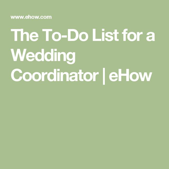 The To-Do List for a Wedding Coordinator   eHow