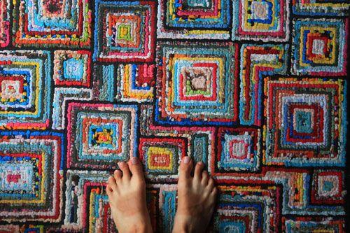 LOVE THIS LOOK! Locker hooked rug--UPPERCASE