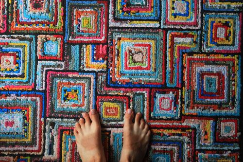 LOVE THIS LOOK! Locker hooked rug--UPPERCASE                                                                                                                                                                                 More