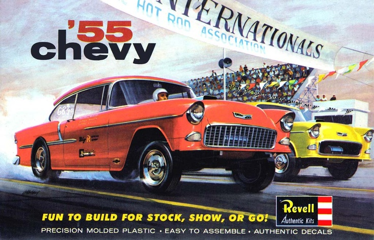Revell's seminal offering of the 1955 Chevy. Truly an important moment in modeling. | vintage model kits and hobbies | Pinterest | Model cars kits, Cars and Mo…