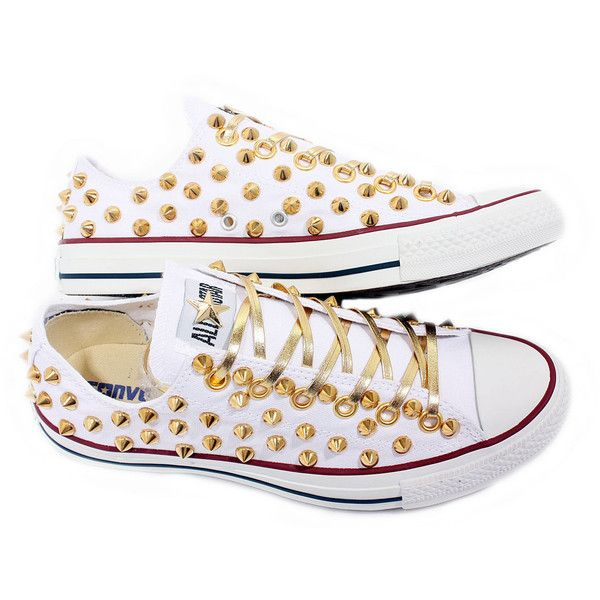 Summer SALE Studded Converse GOLD stud converse low with custom design whites sneakers CUSTOMDUO ($95) found on Polyvore