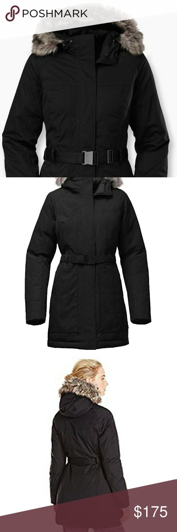 """The North Face Brooklyn Down Coat EUC!! Purchased last season and worn a handful of times. Just had it professionally cleaned and there is a tiny .5"""" tear on upper sleeve that was patched with a black nautical star (appropriate 😄) Please see updated pictures and ask all questions!   Waterproof, breathable, seam-sealed DryVent 2L shellWindproof fabricAttached, adjustable hood with removable, faux-fur ruffMagnetic-closure belt waist adjustmentCovered, secure-zip hand pocketsRaglan sleeves for…"""