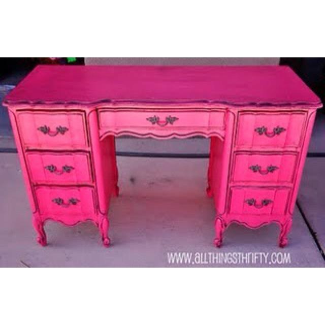 hot pink chalk paint - dark wax