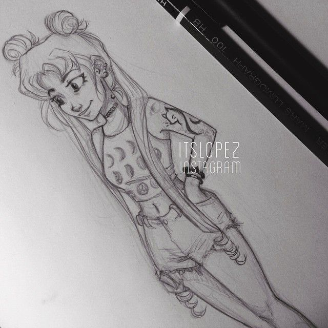 by itslopez . Character Sketch / Drawing I don't like sailor moon but I like this drawing