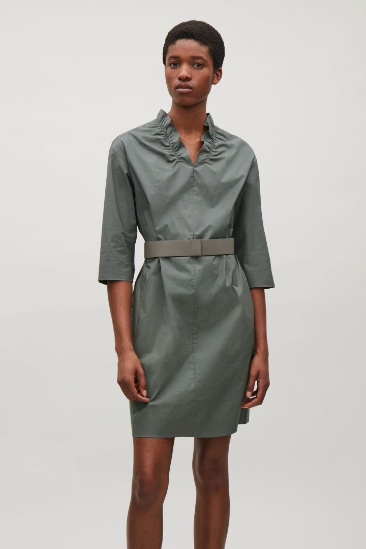 COS image 4 of Dress with ruched neckline in Sage Green