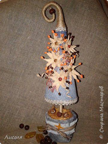 Поделка изделие Новый год Моделирование конструирование Наверное все таки елка  Бусины Клей Конусы Ткань Шпагат фото 1