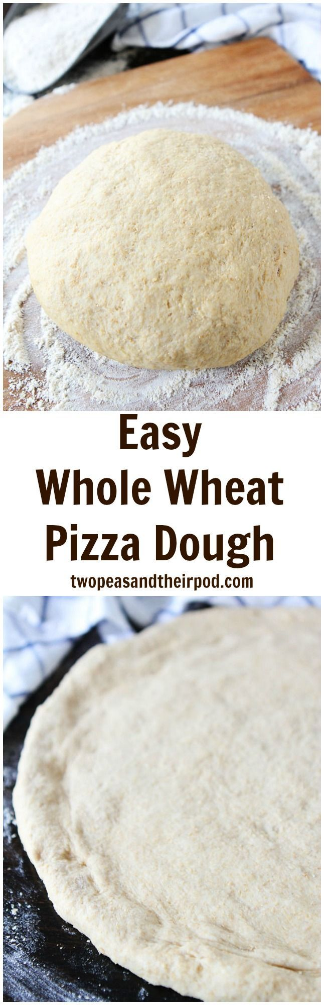 Easy Whole Wheat Pizza Dough Recipe on http://twopeasandtheirpod.com This is our favorite pizza dough recipe and it's so easy to make. Top with your favorite pizza toppings!