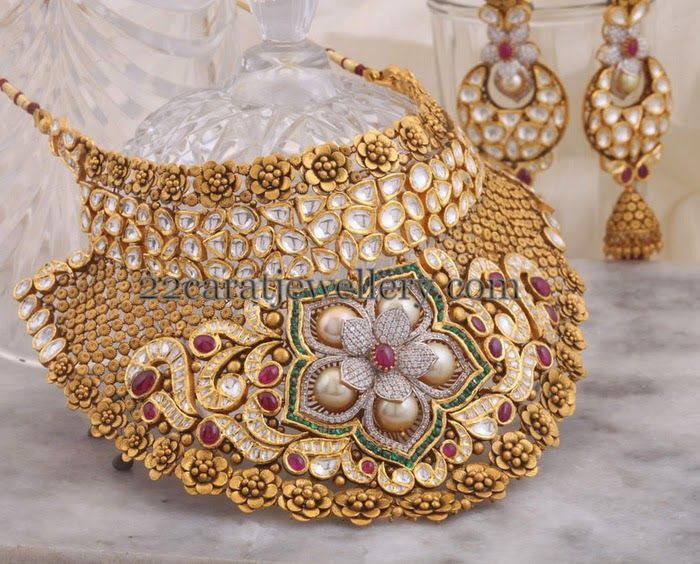 Jewellery Designs: Rose Floral Bridal Choker