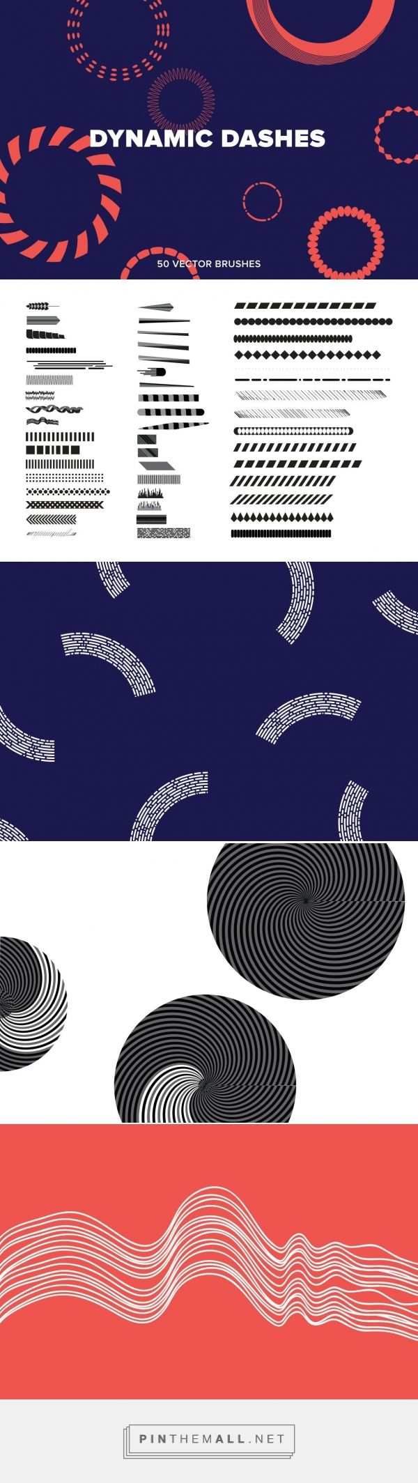 Dynamic Dashes - Extras - YouWorkForThem - This product download contains50Stock Brushes. Dynamic dashed segments and sequences of shapes make up this set of 50 brushes. Mixed shades and alternating geometries come with ordered contours and decorative linear forms. Designed by Michael Cina and YouWorkForThem. (affiliate)