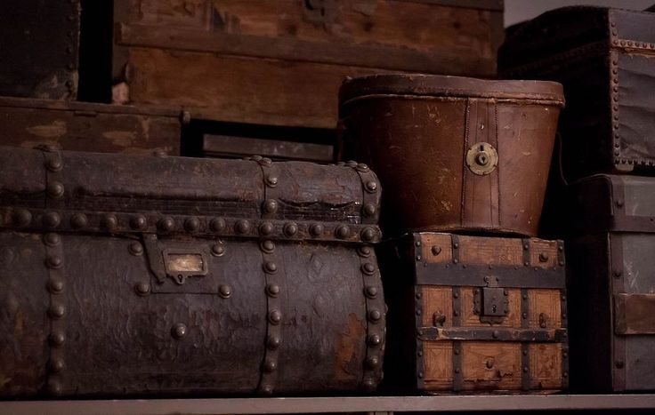 brown suitcases