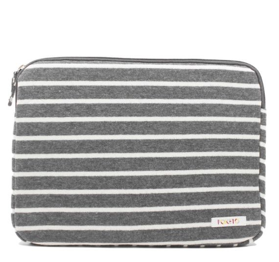 This striped laptop case is so cute.