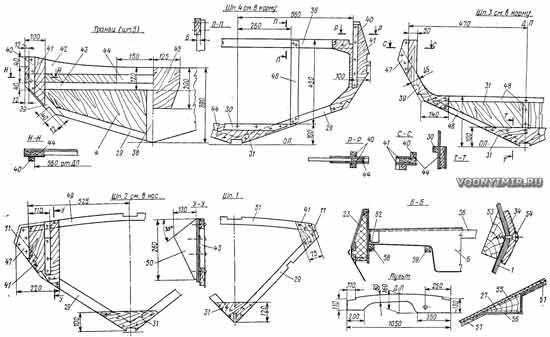 Шпангоутные рамы и узлы конструкции корпуса