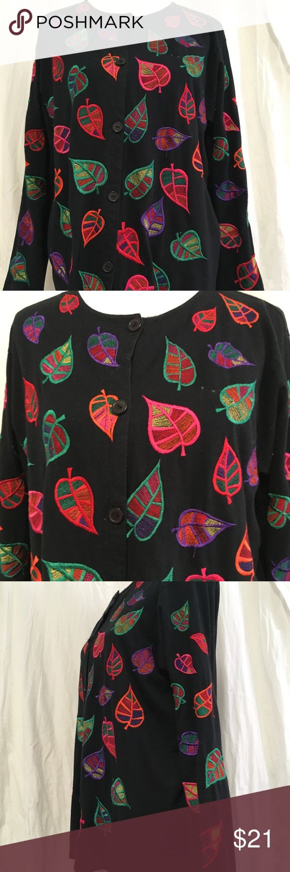 Michael Simon Button Down Top L Embroidered leaves MICHAEL SIMON LITE  Jacket  Long Sleeves  Multi Color leaves embroidery Size L  Fabric:  100% Cotton   Measurements  Length:  28 inches  Bust   46 inches  Waist 46 inches  Hips 46 inches Michael Simon Tops Button Down Shirts