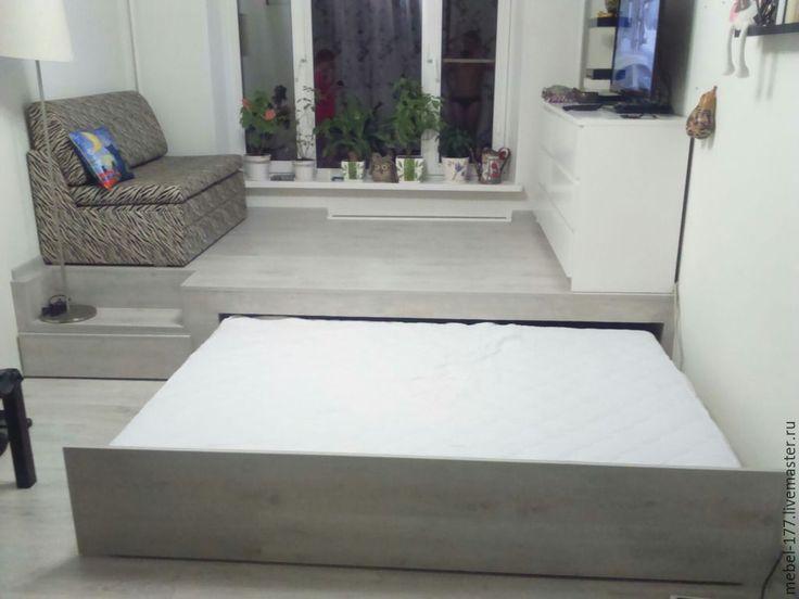 Купить или заказать Кровать подиум в интернет-магазине на Ярмарке Мастеров. Кровать изготовлена: Массив сосны Фанера Ламинат Мебельная фурнитура У кровати имеется выдвижная кровать и ящик для белья.