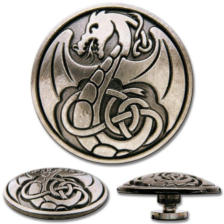 Celtic Concho Schraubzierniete, Zierniete, Schraubniete, Screwback Concho, Keltischer Drachen No. 1