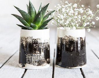 Plantador de cerámica con el maravilloso diseño de patrón de bambú que proporcionan apariencia orgánica moderna. Hermosa adición a la casa moderna y el jardín. Idílico por cactus, suculentas o plantas del aire. El plantador en barbotina de colada. Cada plantador es tratado por separado y quemado a alta temperatura.    -Tamaño: 3.1 H x 2.9 W 8 cm. de alto x 7,5 cm W -Color: gris, negro, blanco, aqua, verde -Horno lavavajillas y microondas. -Listo para enviar -Sin plomo  Pack muy…