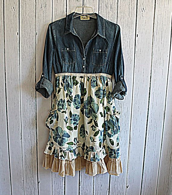 Women's Denim Dress / Linen Cotton and Chambray Praire Chic Upcycled Dress