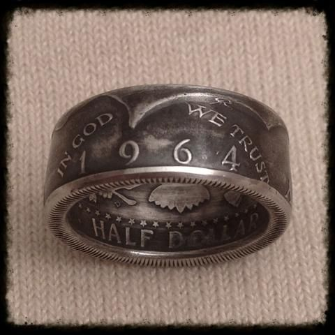 1964 JFK 90% Silver Coin Ring - Hand Made USA - Sizes 8.5 - 14.5
