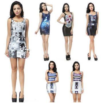 Show details for Womens Printed Vest Bodycon Mini Dress