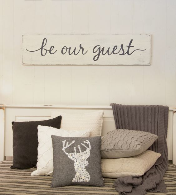 "Be our guest sign - guest room sign - bedroom - rustic wood sign - 47"" x 11.25"" by CherieKaySigns on Etsy https://www.etsy.com/listing/461305278/be-our-guest-sign-guest-room-sign:"