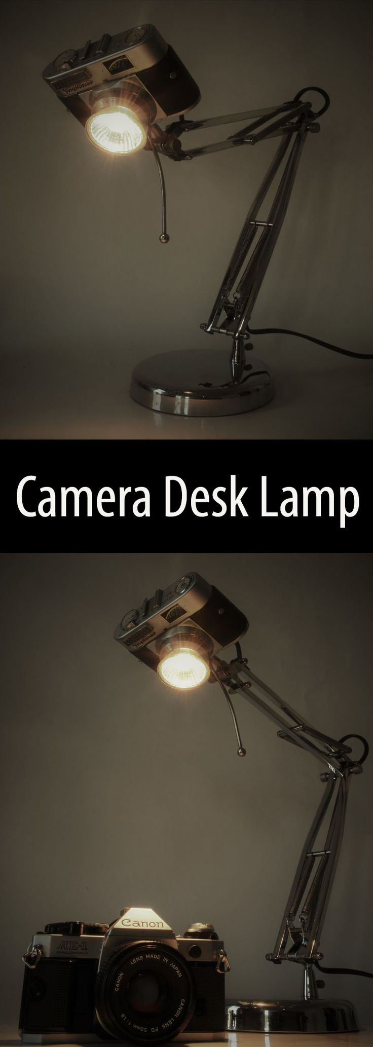 Upcycle and old (non-functional) film camera into a stylish desk lamp.