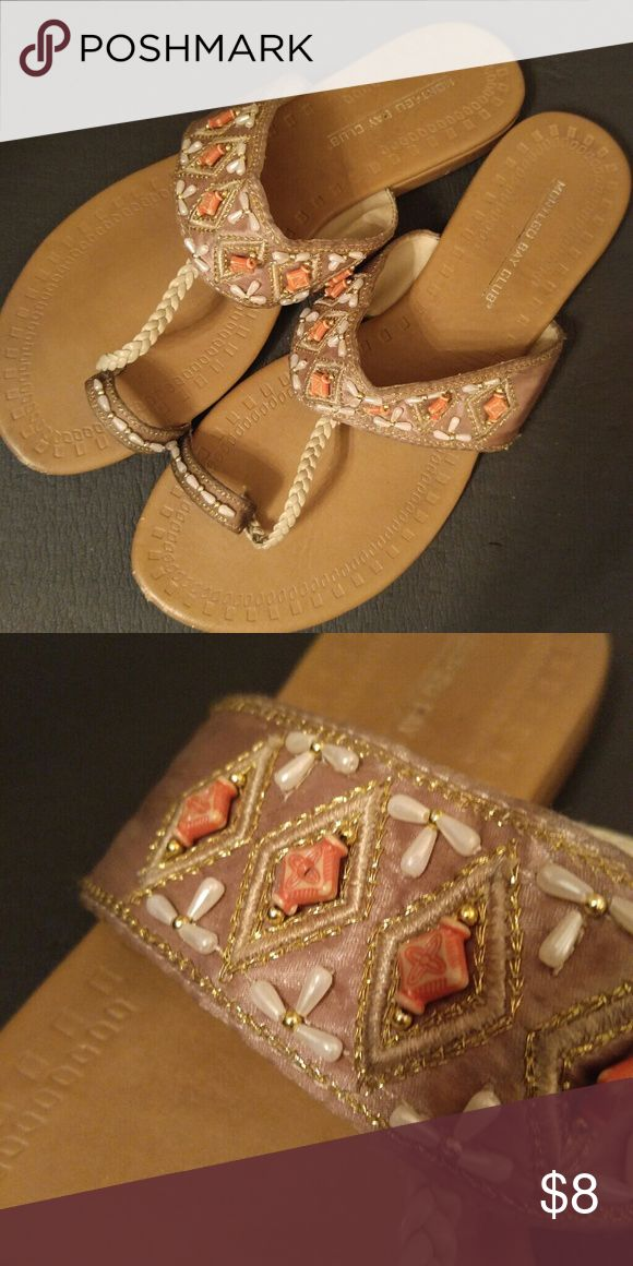 Beaded Boho Slipper Sandal Stunning Beaded Boho Slippers/Sandals great for a casual day shopping or dress it up with a festive boho dress on a vacation day. Mildly used. Tighty beaded with golden trimming. Montego Bay Club Shoes Slippers