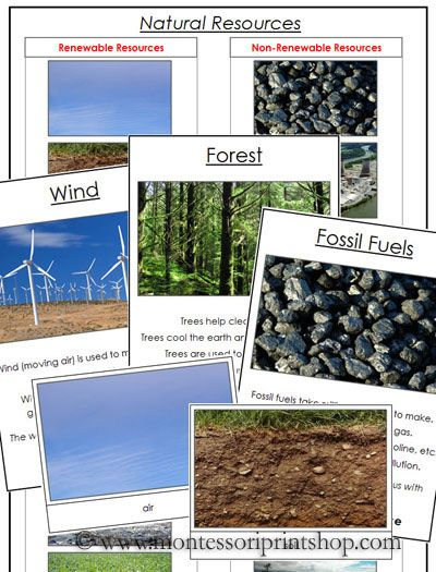 Natural Resources (sorting cards) - Printable Montessori Science Materials for Montessori Learning at home and school.
