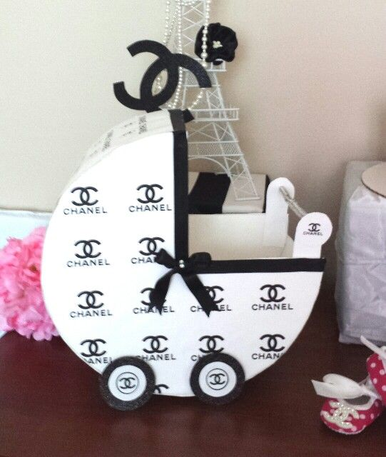 Chanel, baby carriage,  baby shower, theme, diy. Thick constuction paper, print chanel pattern from the computer and glue it on, add ribbon, and I used a straw for the handle. Total cost under $5.