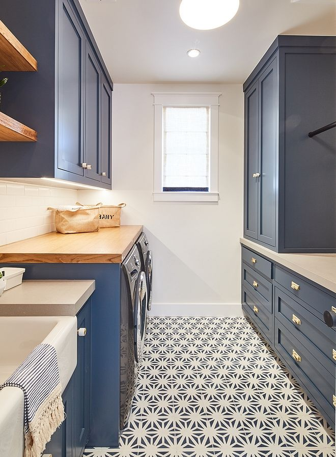 Navy Laundry Room Cabinets Painted In Dunn Edwards De5824 Outer