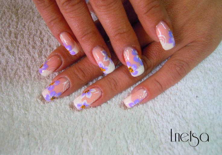 Classic french manicure with flowers tutorial: http://youtu.be/b0stqr9QAi0