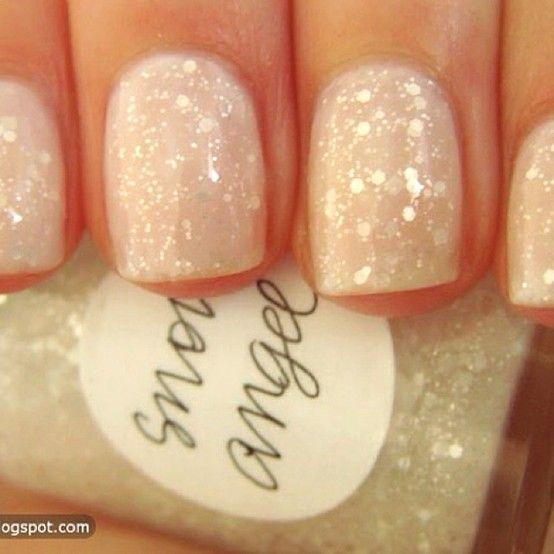 Light Pink / White Glitter Nails