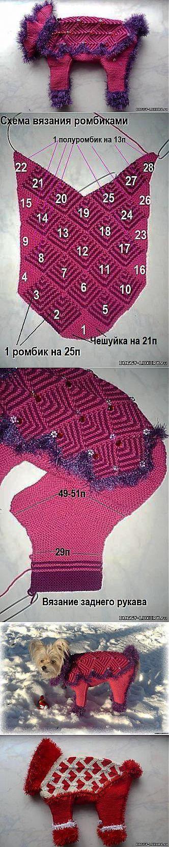 МК № 13 Вязание свитера и комбеза с застежкой по низу. - Шьем одежду для собак