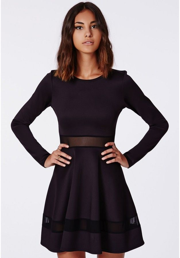 Missguided Patsy Mesh Panel Skater Dress Black on shopstyle.com