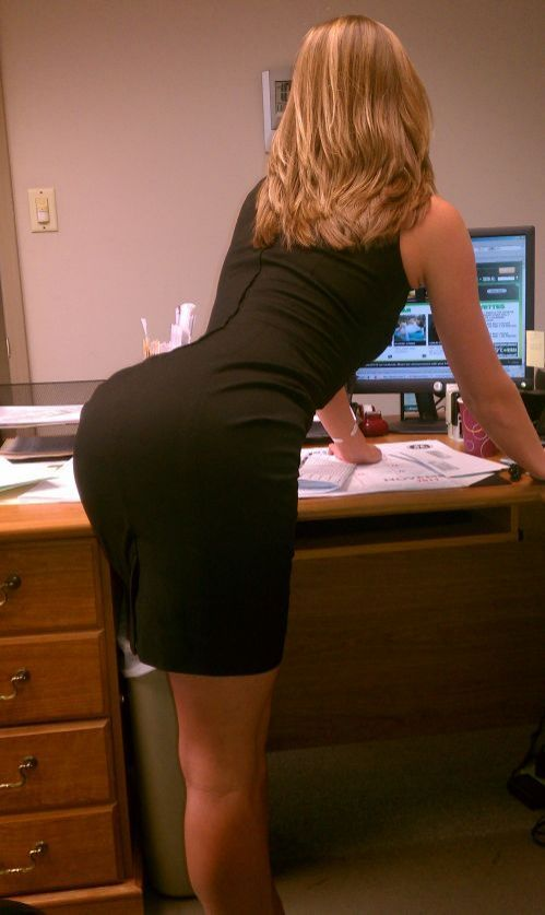 Busty babe office clips