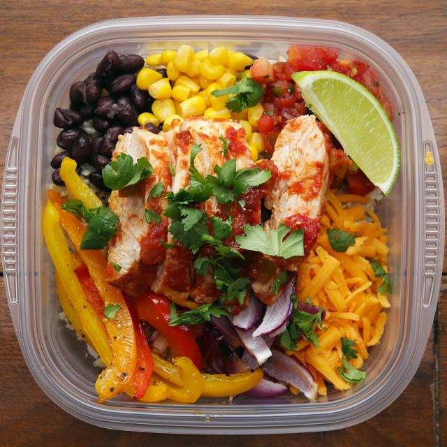 Serves 4–6INGREDIENTS2–3 boneless skinless chicken breasts3 bell peppers, any color, sliced1 large red onion, sliced2 tablespoons olive oil1 tablespoon taco seasoningSalt and pepper1 jar salsa3 cups cooked brown rice, divided1 can black beans, drained and rinsed1 can corn1 cup shredded cheddar cheese1 lime, sliced into wedges Fresh cilantro to garnishPREPARATION1. Preheat oven to 400˚F/200˚C.2. Line a baking sheet with foil.3. Place the chicken, peppers, and onions on the baking sheet and…