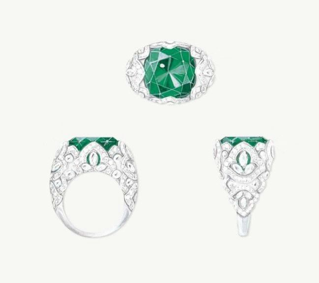 """Piaget """"Secrets & Lights"""" Ring in 18K white gold, 1 cushion-cut Colombian emerald (approx 13.14ct), marquise-cut diamonds and brilliant-cut diamonds."""