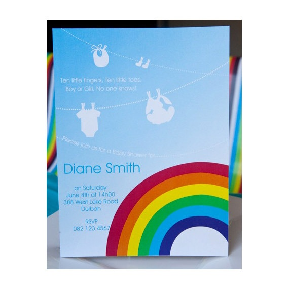 rainbow baby shower invite family and friends pinterest