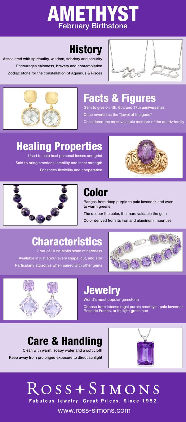Happy Birthday February Babies! Learn more about your Amethyst birthstone in this infographic. #RossSimons