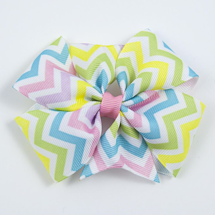 Pastel Hair Bow, Chevron Hair Bow, Easter Hair Bow, Spring Hair Bow, Pink Lilies Boutique   https://www.facebook.com/groups/PinkLiliesBoutique