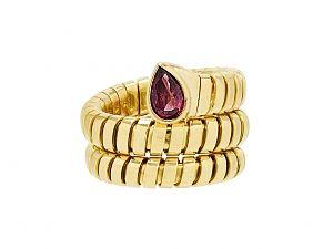 bulgari ruby snake tubogas ring in ring size not resizeable ring size 4 6 hallmark bvlgari metal yellow gold gemstone weight ruby