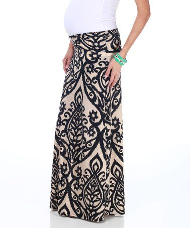 Love this Black & Cream Maternity Maxi Skirt by PinkBlush Maternity on #zulily! #zulilyfinds